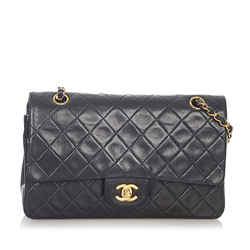 Vintage Authentic Chanel Small Classic Lambskin Leather Double Flap Bag