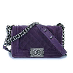Chanel Purple Velvet Small Classic Boy Flap Bag Rhw