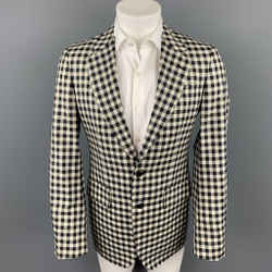 ALEXANDER MCQUEEN Size 38 Black & Cream Checkered Silk / Wool Notch Lapel Sport Coat