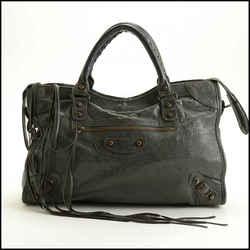 Rdc11465 Authentic Balenciaga Grey Lambskin Classic City Bag W/strap