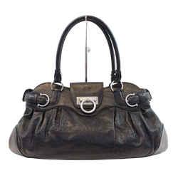 Salvatore Ferragamo Black Calfskin Safari Shoulder Bag - Sale