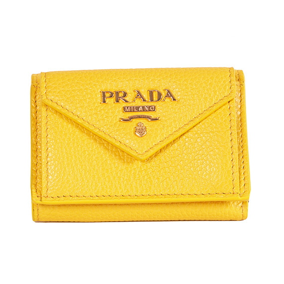 New $495 Prada Yellow Portafoglio Vitello Grain Pebble Leather 1mh021 Wallet Nib