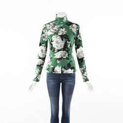 Erdem Kelly Green Floral Ribbed Jersey Knit Turtleneck Top SZ M