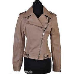 New Versace Beige Leather Moto Jacket 40 - 4