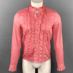 GUCCI Size S Coral Cotton / Viscose Ruffle Long Sleeve Shirt