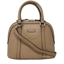 New Gucci Beige Leather Mini Convertible Micro Gg Guccissima Dome Satchel Crossbody Shoulder Bag