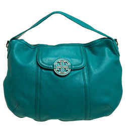 Tory Burch Teal Blue Leather Amanda Flat Hobo