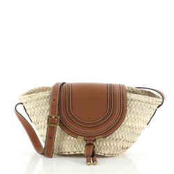 Marcie Basket Bag Raffia and Leather Small