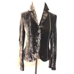 SCHUMACHER Brown Crushed Velvet Striped Silk Accents Fitted Jacket  Size: S/m