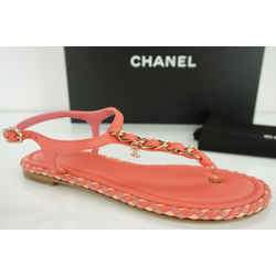 Chanel Cc Logo Chain T Strap Bright Pink Thong Sandals Size 36c Nib Ankle $825