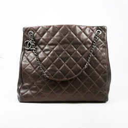 Chanel  Tall Chic Shopping Tote Bag Dark Gold Brown Quilted Caviar Leather