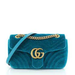 Gg Marmont Flap Bag Matelasse Velvet Small