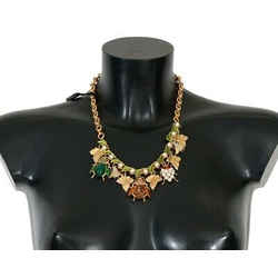 Dolce & Gabbana Gold Brass Crystal Insect Sicily Charms Women's Necklace