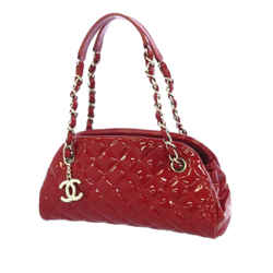 Red Chanel Mademoiselle Patent Leather Bowling Bag