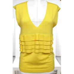 RED VALENTINO Knit Sweater Top Sleeveless Yellow Ruffle Wool