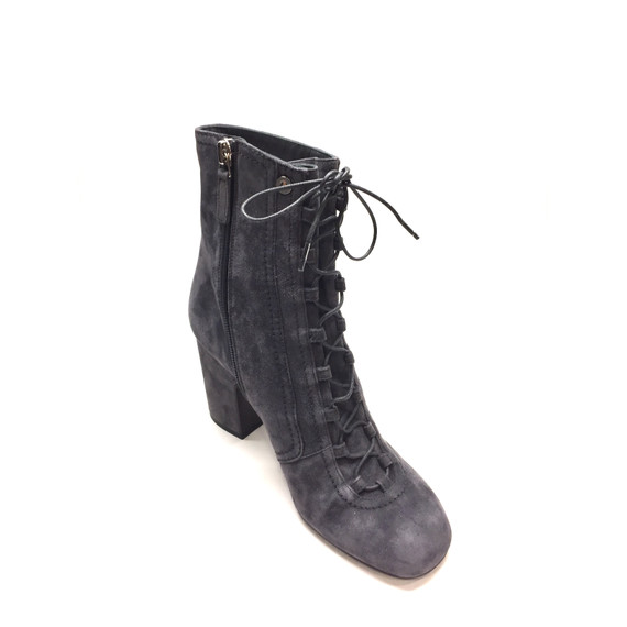 LAURENCE DACADE Gray Suede Lace-Up Block Heel Ankle Boots Booties