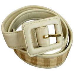 Chanel Beige CC Stripe Belt 858895