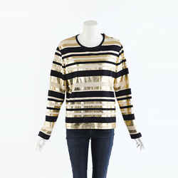 Chanel Metallic Striped Jersey Top SZ 42