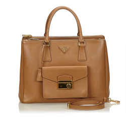 Saffiano Leather Front Pocket Double-zip Bag