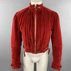 JEAN PAUL GAULTIER HOMME Chest Size 38 Red Solid Velvet Cropped Jacket