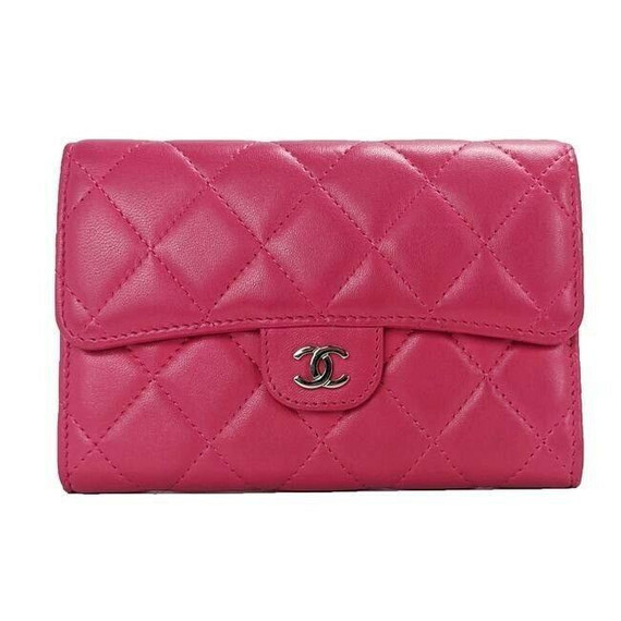 Chanel Medium Pink Quilted Lambskin Flap Wallet
