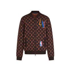 Louis Vuitton Men's XL NBA 2 Monogram Patches Zip Up Blouson Sweater Jacket 486lvs64
