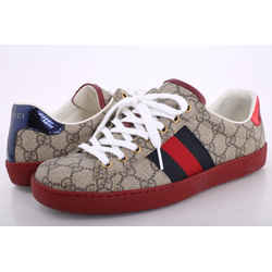 Gucci GG Supreme Beige Canvas Ace Sneakers With Red Soles