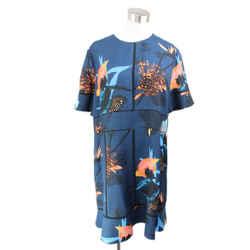 Proenza Schouler Blue Black Peach Print Viscose Dress Sz 10