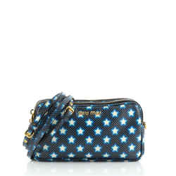 Double Zip Pochette Printed Leather