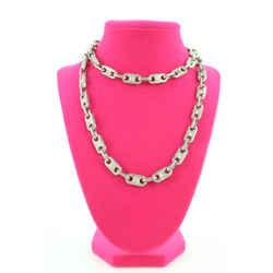 Celine Silver Macadam Logo Chain Necklace 81cel127
