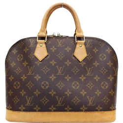 Louis Vuitton Alma Monogram Canvas Satchel Bag Brown