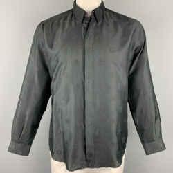 Vintage GIANNI VERSACE Size M Black Medusa Head Print Cotton Blend  Long Sleeve Shirt