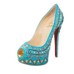 Christian Louboutin Bollywood Jeweled Pumps Blue 7.5 Authenticity Guaranteed