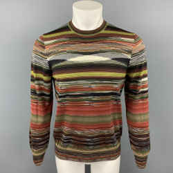 MISSONI Size S Multi-Color Stripe Cashmere / Silk Crew-Neck Pullover Sweater