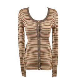 Dolce & Gabbana Size 8 Beige Rayon / Silk Striped Scoop Neck Cardigan