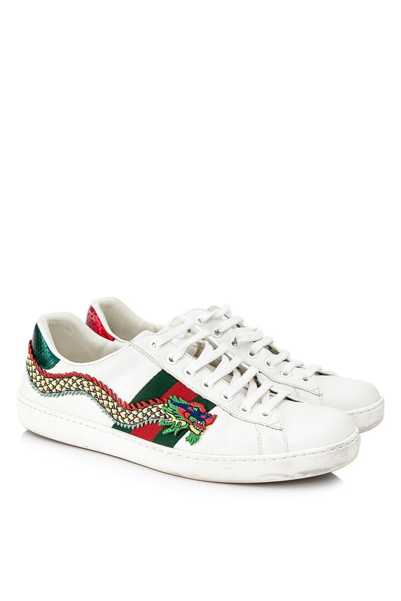 Pre-Owned Gucci Ace Embroidered Dragon