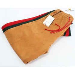 Gucci Dapper Dan Men's Orange Suede Pant W/ Green/red Stripes
