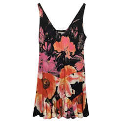 Roberto Cavalli Floral Multi-color Casual Dress Size: 8 (M) Length: Short