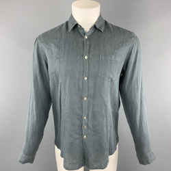 John Varvatos Size S Slate Solid Linen Button Up Long Sleeve Shirt