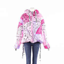 KHRISJOY Coat Pink Paisley Bandana Print Hooded Puffer SZ OS