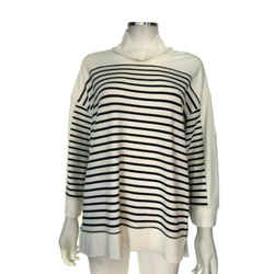 Ralph Lauren White & Navy Striped Turtleneck Sweater Size Extra Large