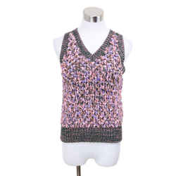 Chanel Pink Lavender Cotton Silk Sweater Vest Sz 6