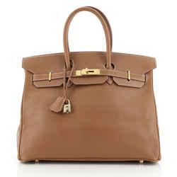 Birkin Handbag Gold Courchevel with Gold Hardware 35