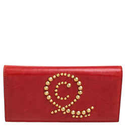 Alexander McQueen Red Leather Studded Flap Clutch