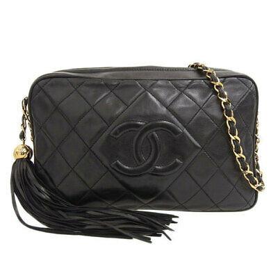 Auth Chanel Lambskin Tassel Chain Shoulder Bag Black 3rd Leather