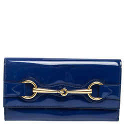 Gucci Blue Patent Leather Horsebit Continental Wallet