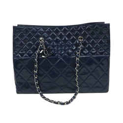 Chanel Quilted Blue Patent Classic Chain Shopper Tote 871505