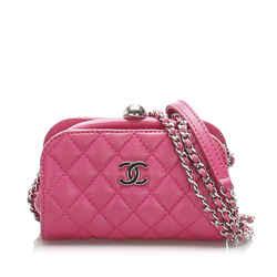 Pink Chanel CC Lambskin Leather Crossbody Bag