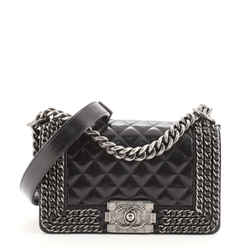 Chained Boy Flap Bag Quilted Glazed Calfskin Small