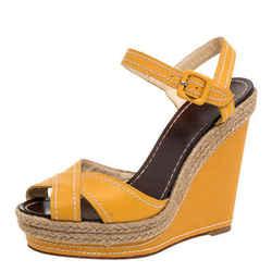 Christian Louboutin Yellow Leather Almeria Cross Strap Espadrille Wedge Sandals